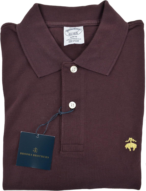 Brooks Bredhers Men's Slim Fit Performance Pique Pique Pique Polo Shirt Wine Purple Small 86b41f