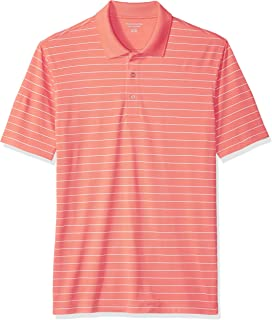 Amazon Essentials Men's Regular-Fit Quick-Dry Stripe Golf Polo Shirt, Coral, X-Small