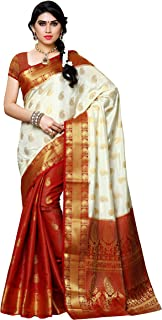 MIMOSA Women's Kanchipuram Silk Saree With Unstitched Blouse Piece (225-PT-HWT-MRN_Off White)