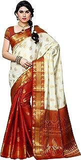 MIMOSA by Kupinda Artificial Silk Saree with Patli Kanjivaram Style Color:Off White(3413-225-PT-HWT-MRN)