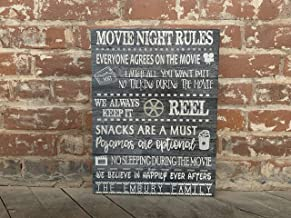 Movie Night Rules, Christmas Gift, Family Sign, Hollywood, Cinema, Personalized Canvas, Wall Sign, AWESOME Gift, Disney Fans