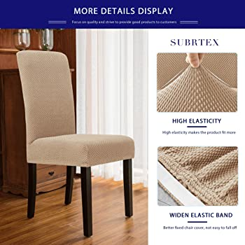 subrtex Dining Room Chair Slipcovers Jacquard Parsons Chair Covers Sets Stretch Chair Furniture Protector Covers Remo...