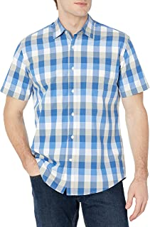 Amazon Essentials Men's Regular-Fit Short-Sleeve Check Shirt
