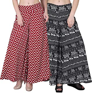 Fablab Women's/Girl's Printed Crepe A-Line wide leg divider Palazzo Trousers with Pocket & Inner Lining Combo Pack of 2(FLPLCRP2-21,Red ZigZag,Black Elephant,Size-XXL)