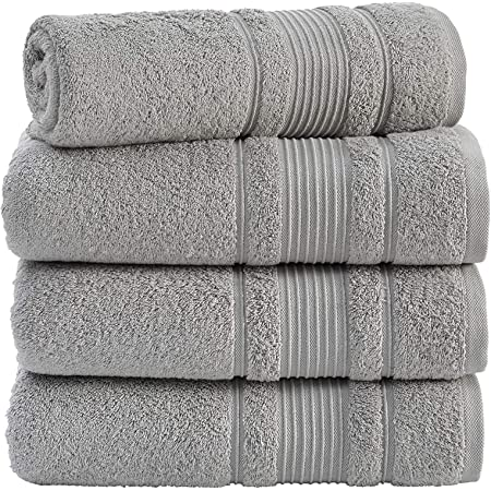 Amazon Com Qute Home 4 Piece Bath Towels Set 100 Turkish Cotton Premium Quality Towels For Bathroom Quick Dry Soft And Absorbent Turkish Towel Perfect For Daily Use Set Includes 4 Bath Towels Grey