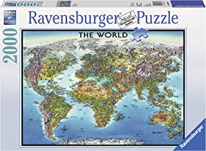 Ravensburger World Map 2000 Piece Jigsaw Puzzle for Adults – Softclick Technology Means Pieces Fit Together Perfectly