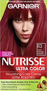 Garnier Nutrisse Ultra Color Nourishing Hair Color Creme, R3 Light Intense Auburn  (Packaging May Vary), Pack of 1