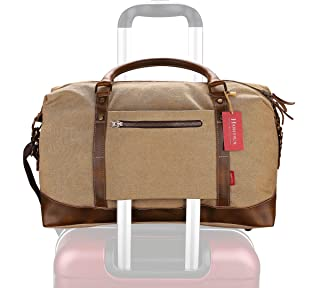 Weekender Duffel Bag Travel Tote - Canvas Genuine Leather Overnight Bag with YKK Zipper