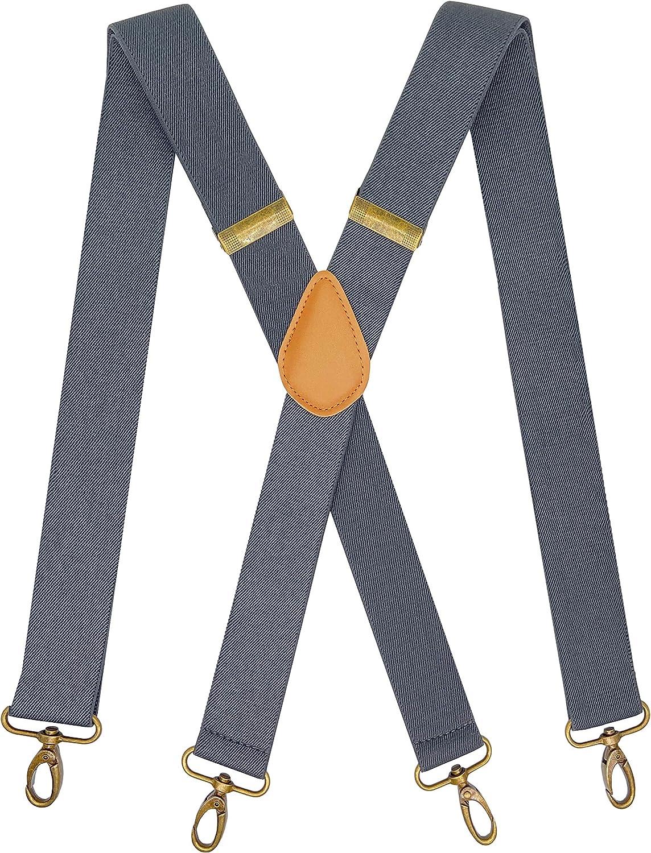 SupSuspen Suspenders Hook On Belt Swivel Hook Suspenders for Men Vintage X Shape
