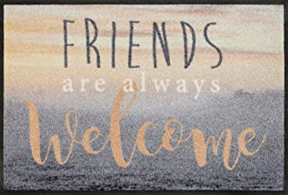 Wash + Dry 088158Welcome Friends Doormat, Acrylic, Multicoloured, 50x 75cm x 0.7cm
