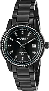 Women's Swarovski Watch - Genuine Diamond Hour Markers on Sunburst Dial, Crystal Accented Bezel on Stainless Steel Bracelet Watch - AK928
