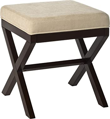 MORGAN WOOD AND UPHOLSTERED BACKLESS VANITY STOOL (ESPRESSO)