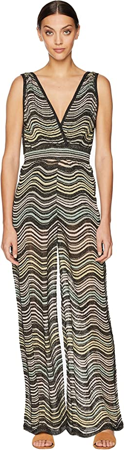 Lurex Wave Ripple Knit Jumpsuit