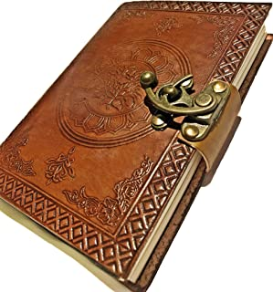 Leather Saddler Travel Journal, Handmade Vintage Notebook, Antique Soft Leather, Gift for Men & Women,Travelers Journal, Small Leather Notebook, With C Lock 7 Inches, Brown
