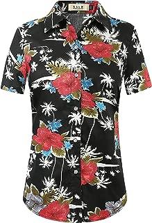 Women's Floral Short Sleeve Cotton Button Down Hawaiian Shirts