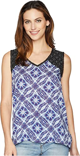 Printed Sleeveless Blouse with Trim