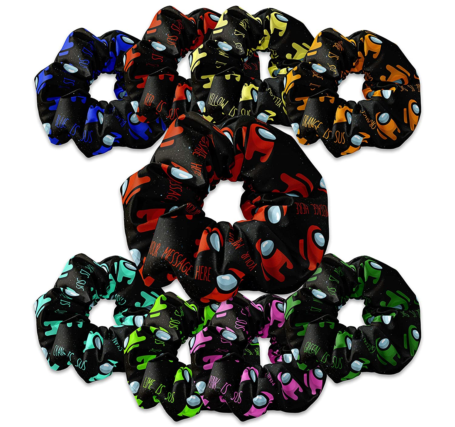 Personalizable Space Game Inspired National products Be super welcome Scrunchie Sc 8-bit Hair Ties
