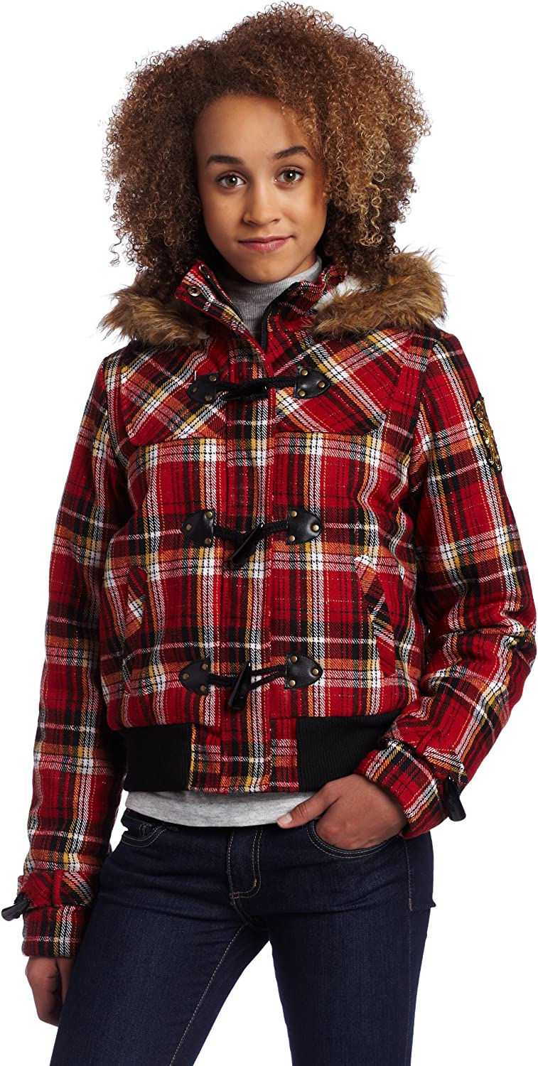 Southpole Juniors Plaid Padded Toggle Button Bomber Jacket