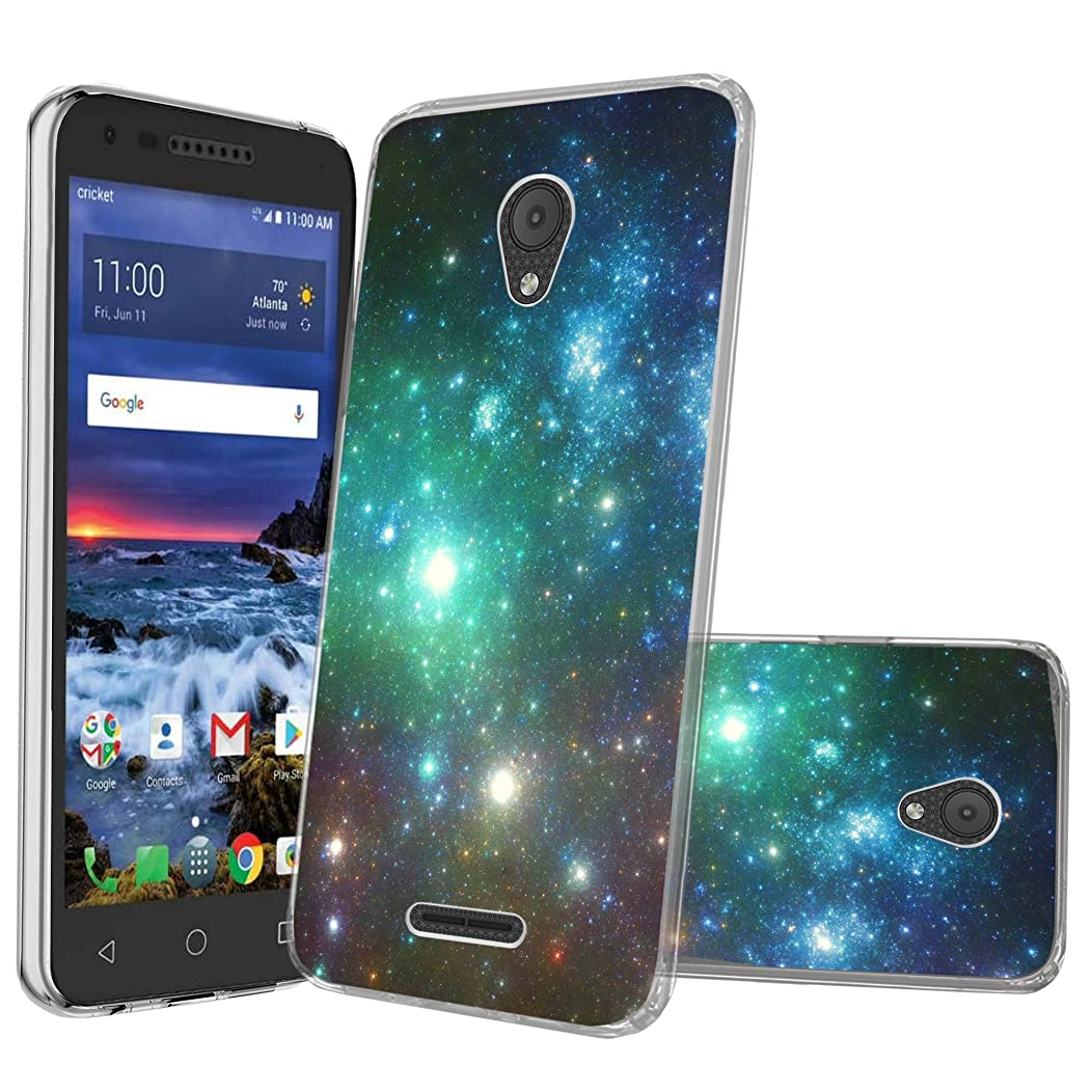 MINITURTLE Compatible with Alcatel Verso, Ideal Xcite, Raven A574BL, Fiji [Clear Case][Drop Protection] [Crystal Clear Flex Force Series] Flexible TPU Case - Blue Green Galaxy