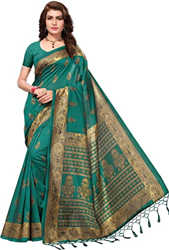 Anni Designer Art Silk Dark Green Saree With Blouse