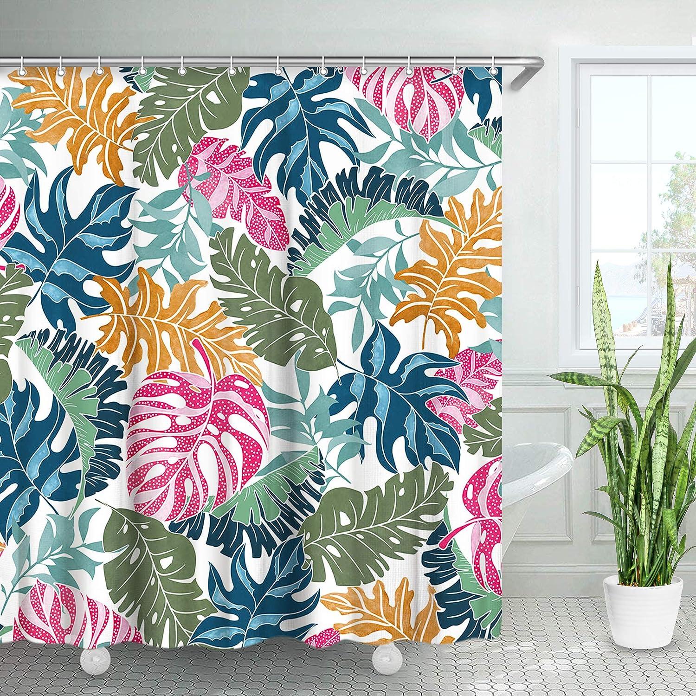 LIVILAN Monstera Shower Curtain Blue Tropical Palm Banana Leaf Shower Curtain Botanical Hand Drawn Style Plants Pink Green Shower Curtain with Hooks Waterproof Mondern Fabric Shower Curtain 72 Inch