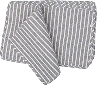 NEOVIVA Quilted Denim Placemats for Kitchen Table, Set of 4, Chalk Striped Wild Dove