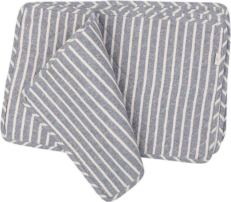 NEOVIVA Quilted Denim Placemats For Kitchen Table Set Of 4 Chalk Striped Wild Dove