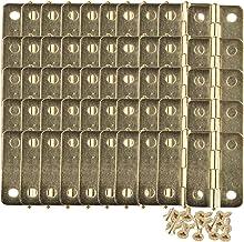 HALJIA 50 stuks mini-scharnier-aansluitingen voor sieraden, kast, lade, gecoat met messing, 23 x 19 mm, met 200 stuks rese...