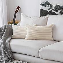"""HOME BRILLIANT Striped Velvet Throw Pillow Covers 2 Pack, Velvet, C-Cream Cheese, 12"""" x 20"""""""