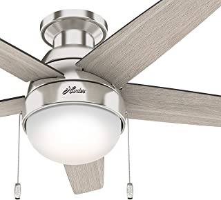Hunter 46 in. Modern Low Profile Ceiling Fan with LED Light in Brushed Nickel (Renewed)