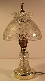 Vintage Boudoir Night Light / Lamp, Hand-Cut Lead Crystal Base & Shade, by Imperlux, 12 Inches