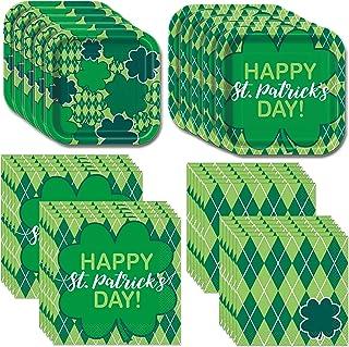 Unique St. Patrick's Day Argyle Clover Dinnerware Bundle | Dinner & Dessert Plates, Luncheon & Beverage Napkins | Irish Sh...