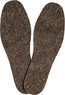 Warm Felt Wool Insoles for Men, Natural Wool Cozy Winter Insoles for Boots and Walking Shoes, 6 mm Thick, 1 Pair in Pack (Size 9)