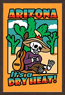 Arizona - Day of the Dead - Skeleton Siesta with Guitar - It's a Dry Heat (24x36 Giclee Art Print, Gallery Framed, Espresso Wood)