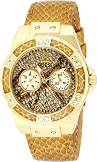 Guess Womens Quartz Watch, Analog Display and Leather Strap W0775L13