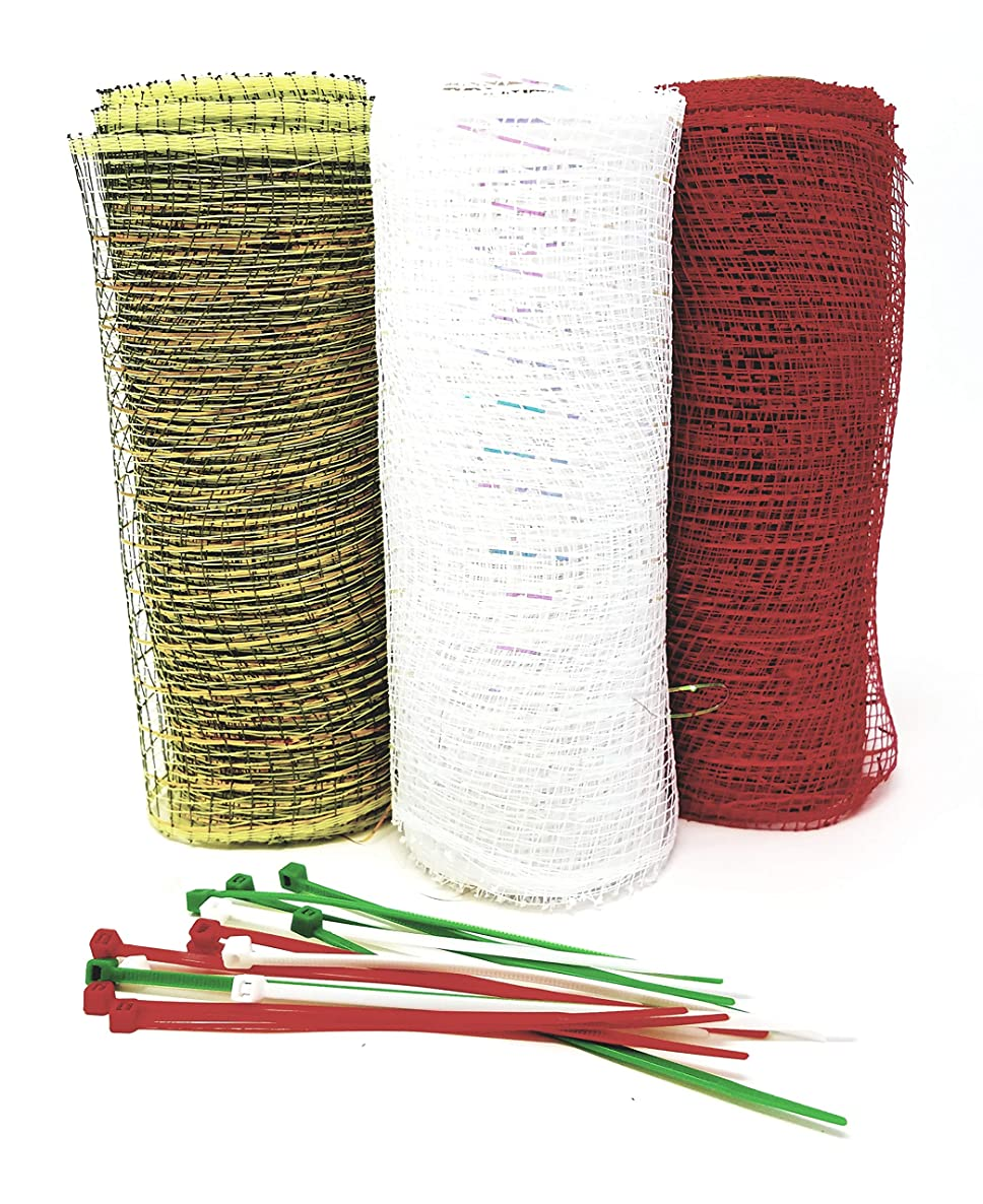 Victorian Country Deco 5 Yard Mesh Rolls (Pack of 3) for Crafting Wreaths and Zip Ties (Bright Red, Vintage Green, White) skwd1174934183