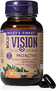 Wiley's Finest Wild Alaskan Fish Oil - Bold Vision for Eye Health, with Lutein, Zeaxanthin, Bilberry, Omega-7, Astaxanthin...