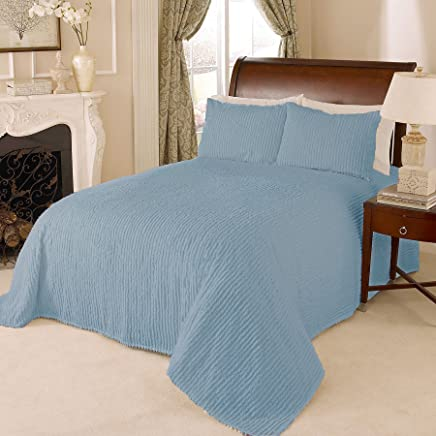 Beatrice Home Fashions Channel Chenille Bedspread,  King,  Blue