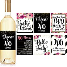 6 40th Birthday Wine Bottle Labels or Stickers Present, 1979 Bday Milestone Gifts For Her Women, Cheers to 40 Years, Funny Fortylicious Pink Black Gold Party Decorations For Friend, Wife, Girl, Mom