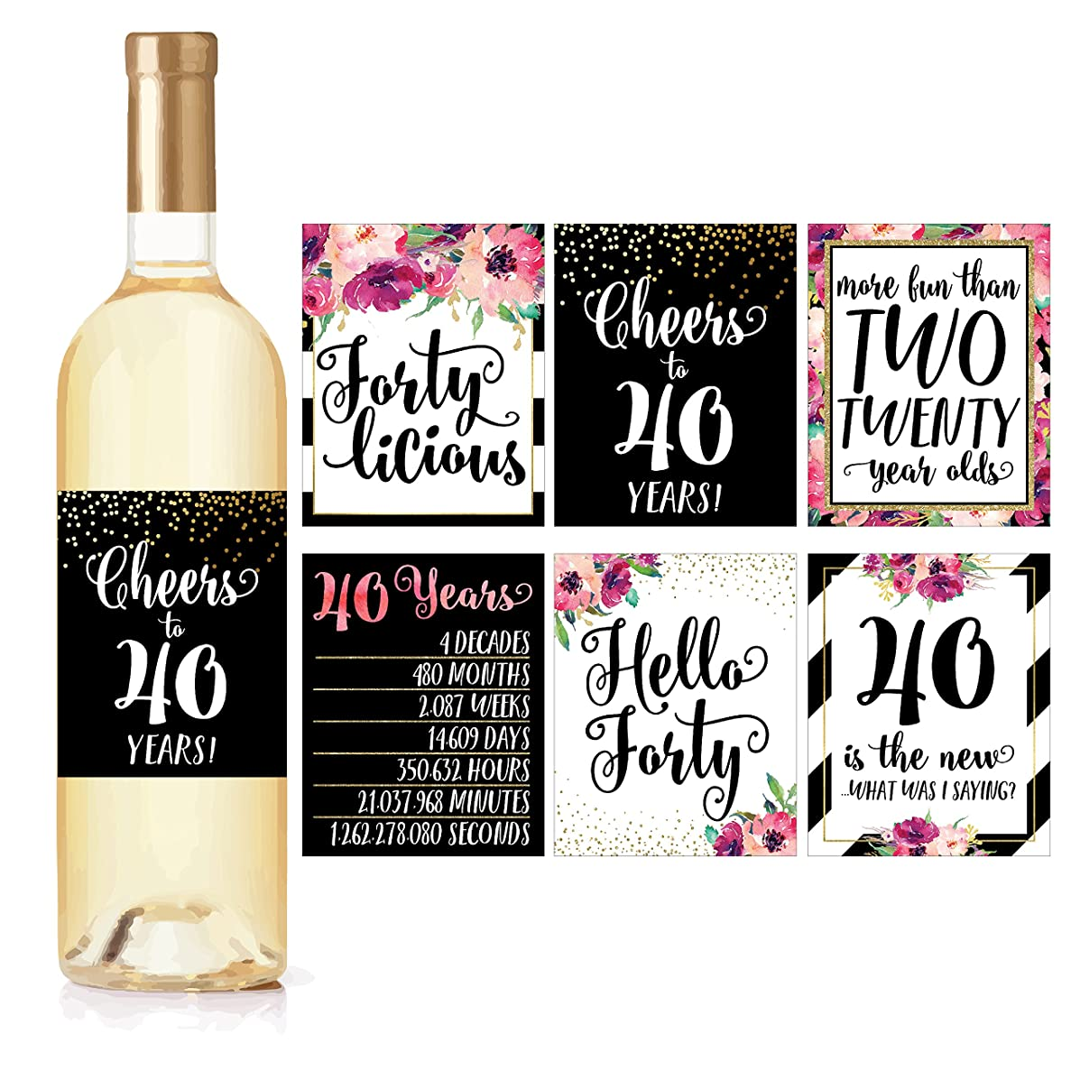 6 40th Birthday Wine Bottle Labels or Stickers Present, 1978 Bday Milestone Gifts For Her Women, Cheers to 40 Years, Funny Fortylicious Pink Black Gold Party Decorations For Friend, Wife, Girl, Mom