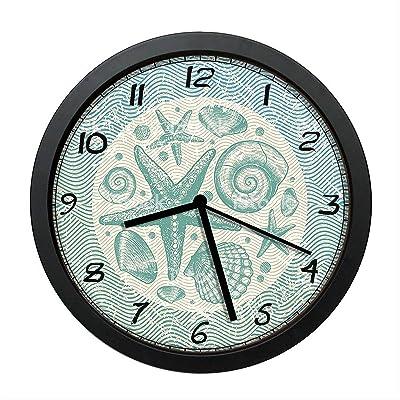 "CZHEZEE Starfish and Seashells Clock Wall Clock Non-Ticking - Silent Wall Clock - Rusitc Clock - 10"" Decorative Wall Clock Battery Operated - Contemporary Creative Wall Clock Round"