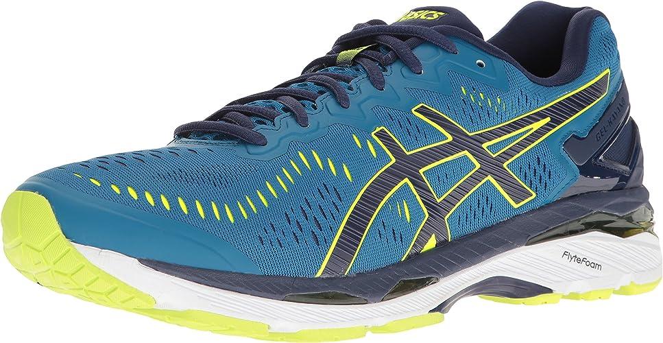 ASICS Gel-Kayano 23-M, Chaussures de Course pour Homme noir argent Safety jaune Medium