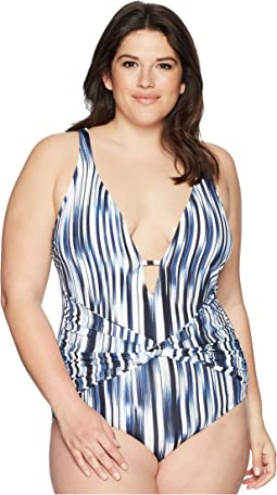 Plus Size Blue Horizon Twist Front Plunge Maillot