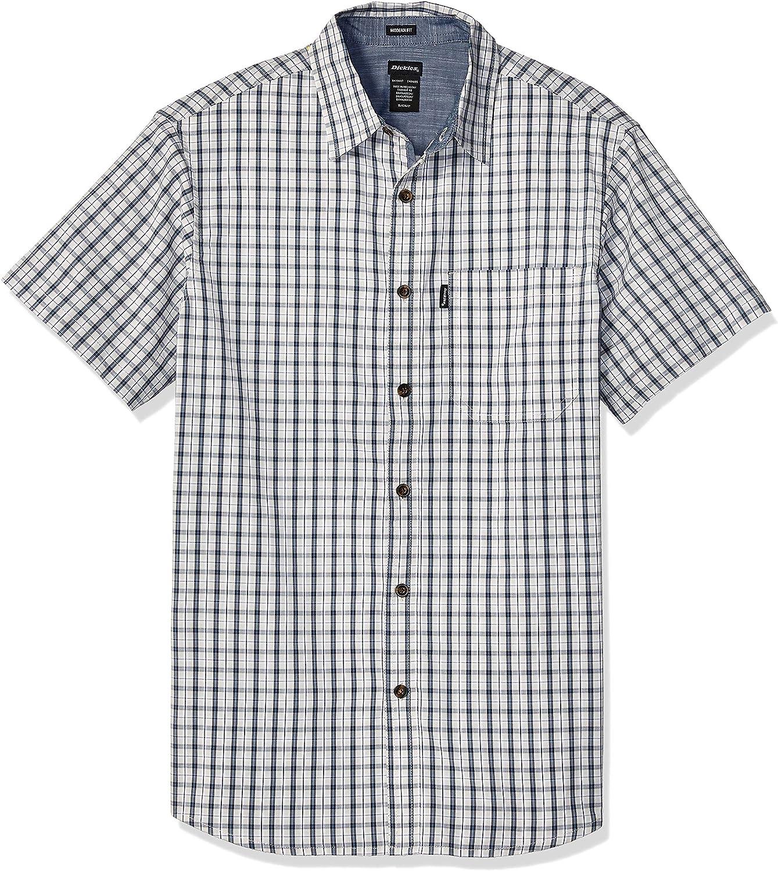 Dickies Camisa de tela escocesa flexible de manga corta teñida de hilo de ajuste moderno para