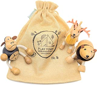 Play Town Wooden Animal Toy Trio - Bendable, Creative Toy Figures & Playset, Montessori or Waldorf Style Learning Through ...