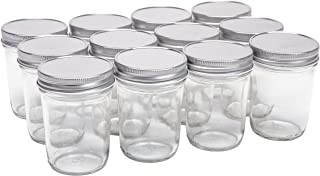 North Mountain Supply 8 Ounce Glass Regular Mouth Tapered Mason Canning Jars - with Safety Button Lids - Case of 12 (Silve...