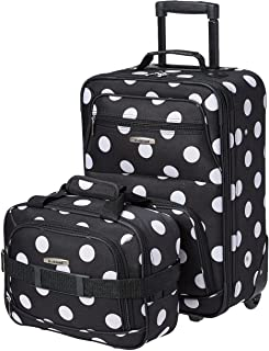 Fashion Softside Upright Luggage Set, Black Dot, 2-Piece...