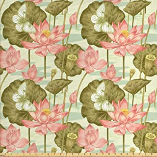 Lunarable Japanese Fabric by The Yard, Exotic Vintage Lotus Flower Buds Stems in Pond Flying Butterfly Oriental Style, Decorative Fabric for Upholstery and Home Accents, 1 Yard, Green Coral