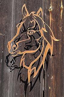 EQT-TEC Premium Gartendekoration Edelrost Windlicht Teelicht Licht Pferd Gartenstecker Dekoration Rostdeko Rostoptik Roststecker