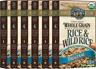 Lundberg Family Farms Organic Whole Grain and Wild Rice, Original, 6 Ounce (Pack of 6)